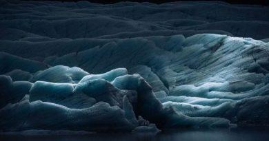 Iceland glacier at night